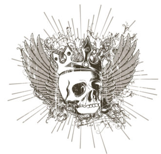 Vector T-Shirt Design With Skull Vector Illustrations old