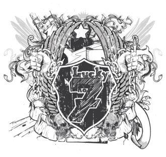 Vector T-Shirt Design With Shield Vector Illustrations star