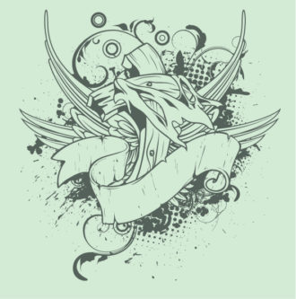 Vector Grunge T-Shirt Design With Cross Vector Illustrations old