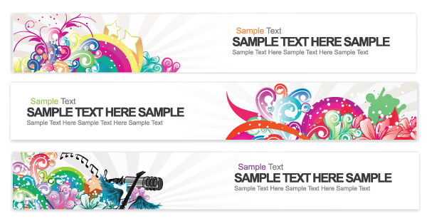 Web Banners With Floral Vector Illustration Vector Illustrations star