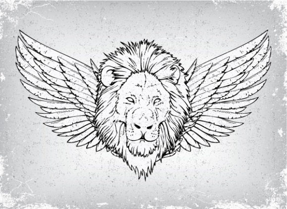 Download With Vector Art: Vector Art Grunge Emblem With Lion 1
