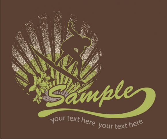 Special Summer Vector Illustration: Vector Illustration Summer T-shirt Design With Surfer 1