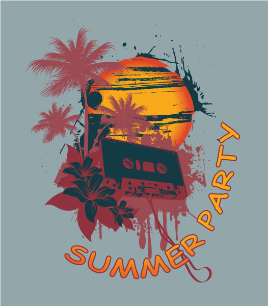 Vector Music T-Shirt Design With Cassette Vector Illustrations palm