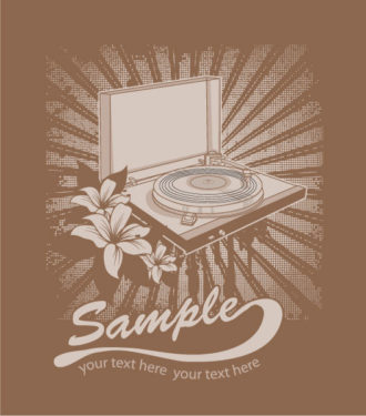 Vector Music T-Shirt Design With Turntable Vector Illustrations old