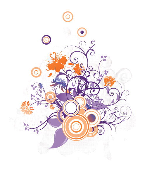 Lovely Floral Vector Design: Vector Design Floral Illustration With Circles 2010 07 15 10195