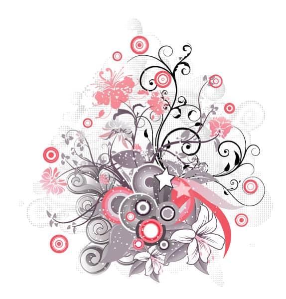 Circles Vector Illustration: Vector Illustration Floral Illustration With Circles 5