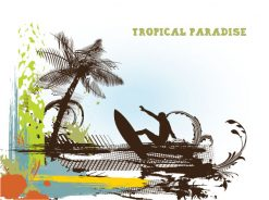 Vector Summer Background With Surfer Vector Illustrations palm