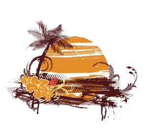 Vector Summer T-Shirt Design With Palm Tree Vector Illustrations palm
