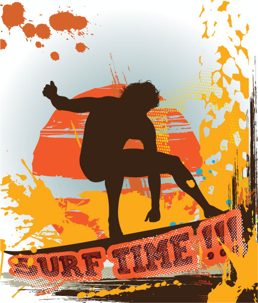 Vector Vector Design Vector Summer Background With Surfer 1