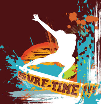 Vector Summer Background With Surfer Vector Illustrations wave