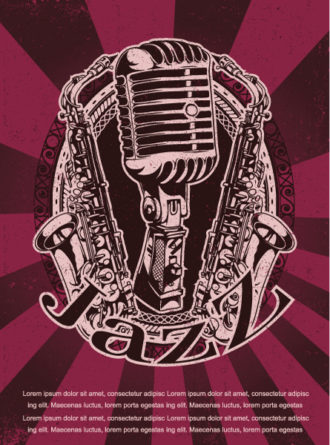 Vector Grunge Concert Poster With Microphone And Saxophone Vector Illustrations old