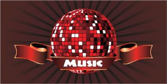 Vector Music Emblem With Discoball Vector Illustrations vector