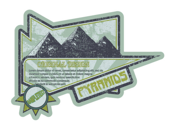Vector Grunge Label With Pyramids Vector Illustrations old