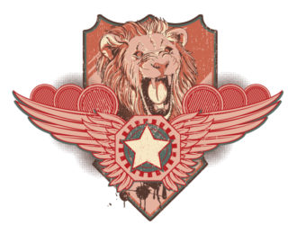 Vector Vintage Label With Lion Vector Illustrations star