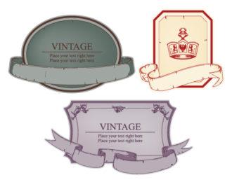 Vintage Emblems Set Vector Illustration Scenes old