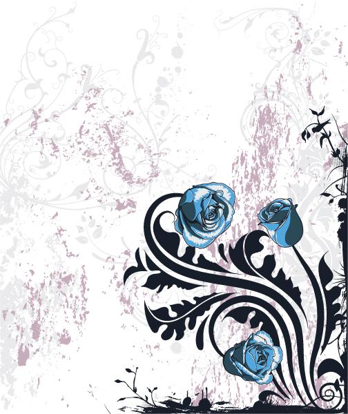 Dirt, Grunge Vector Art Grunge Floral Background Vector Illustration 5