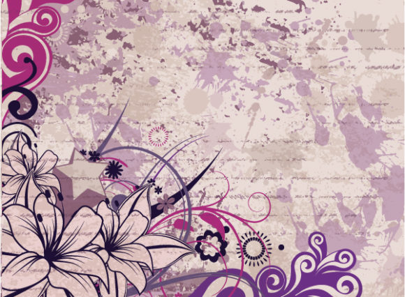Background, Vector, Floral Vector Graphic Grunge Floral Background Vector Illustration 2010 07 16 1069
