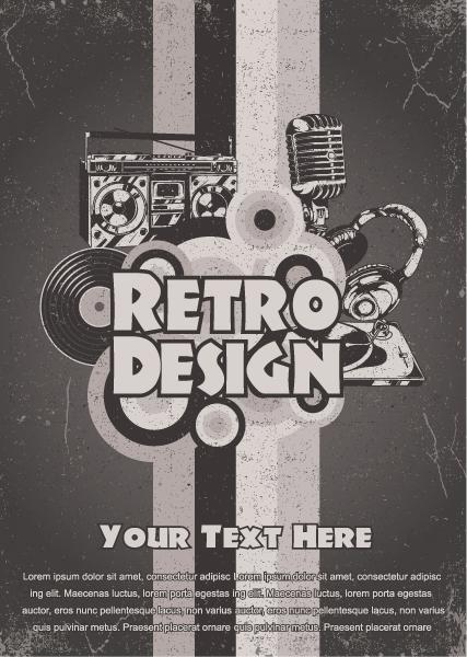 Illustration, Headphones, Dirty, Retro Eps Vector Retro Music Poster Vector Illustration 1