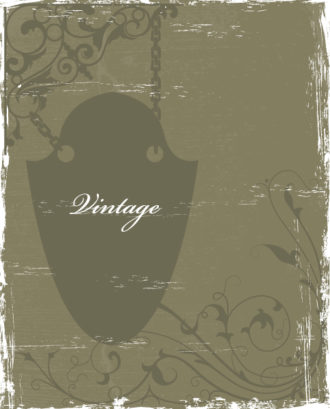 Vintage Floral Background With Wrought Iron Sign Vector Illustration Vector Illustrations old
