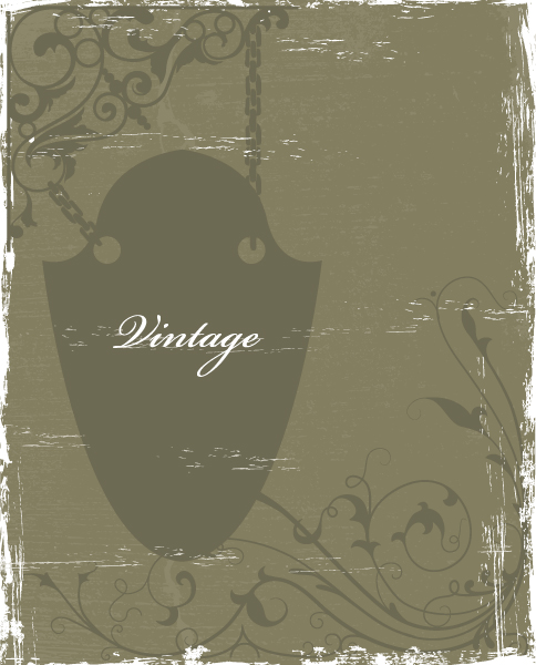 Sign, Iron, Dirty, Floral, Vector, Background, With Vector Illustration Vintage Floral Background With Wrought Iron Sign Vector Illustration 5