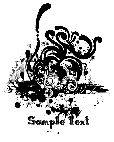 Striking Illustration Vector Image: Vector Image Grunge Floral Illustration 5