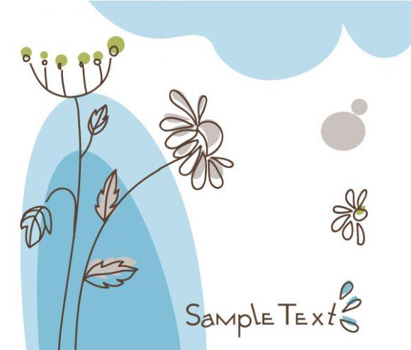 Trendy Plant Eps Vector: Doodles Floral Background Eps Vector Illustration 2010 07 19 10150