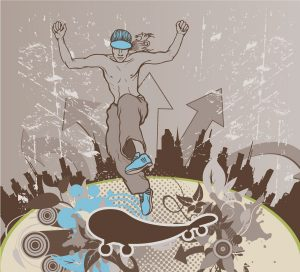 Vector Grunge Urban Background With Skater Vector Illustrations building