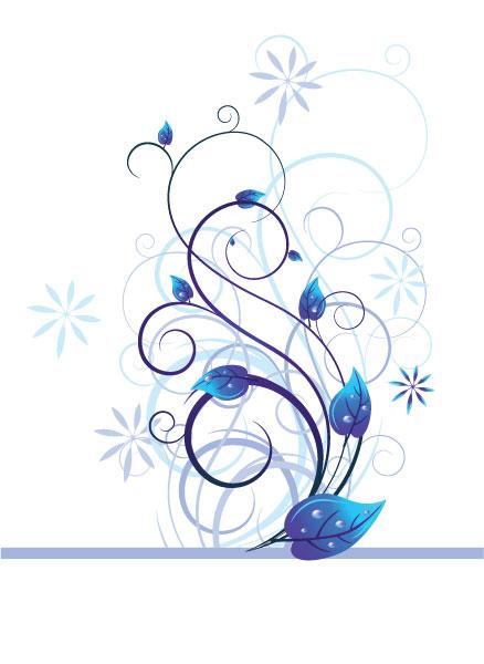 Illustration, Floral Vector Vector Blue Floral Illustration 5