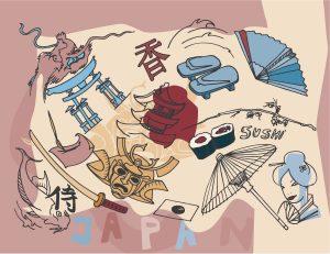 Japan Doodles Vector Illustration Vector Illustrations umbrella