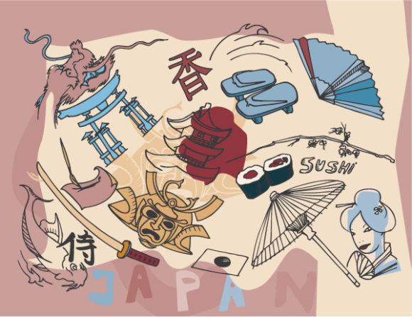 Japan Doodles Vector Illustration 2010 07 20 1018