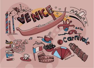 Venice Doodles Vector Illustration Vector Illustrations vector