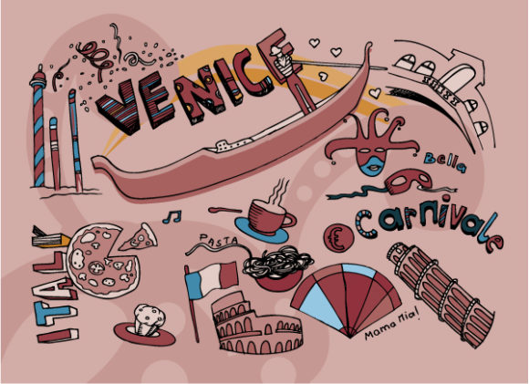 Gorgeous Doodles Vector Graphic: Venice Doodles Vector Graphic Illustration 2010 07 20 1020