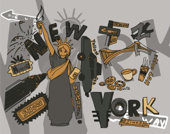 New York Doodles Vector Illustration 2010 07 20 1023