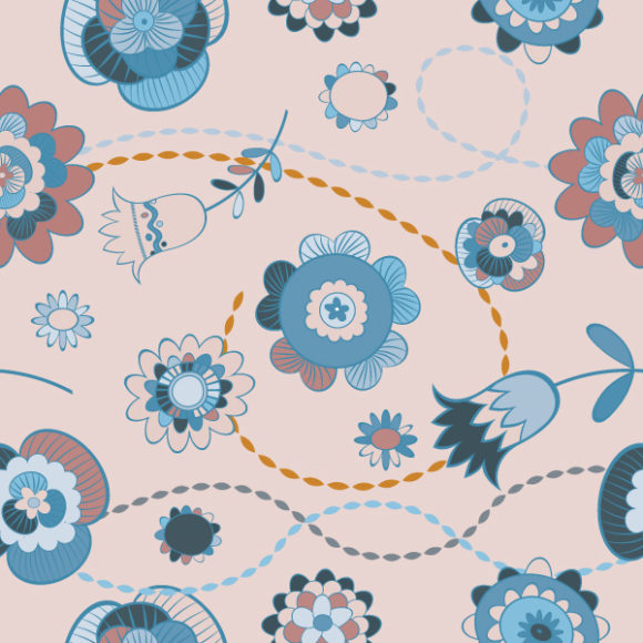 Buy Illustration Vector Art: Seamless Floral Background Vector Art Illustration 5