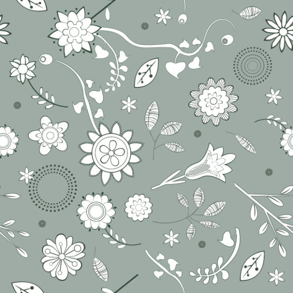 Striking Floral Vector Graphic: Seamless Floral Background Vector Graphic Illustration 5