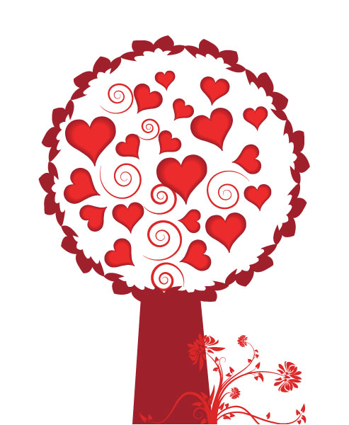 Lovely Of Vector: Vector Valentine Background With Tree Made Of Hearts 2010 07 21 1052