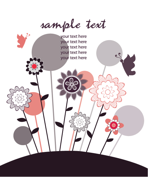 Floral Vector Vector Retro Background With Floral 5