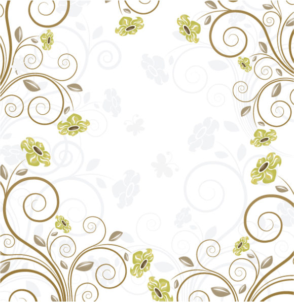 Vector, Floral Vector Background Vector Retro Background With Floral 5