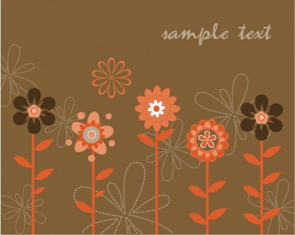 Retro Vector Design Vector Retro Floral Background 5