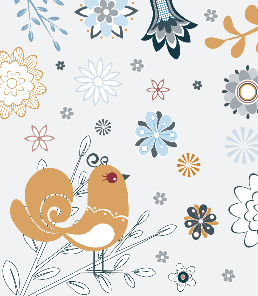 With, Flower Vector Illustration Vector Spring Floral Illustration With Bird 2010 07 22 1085