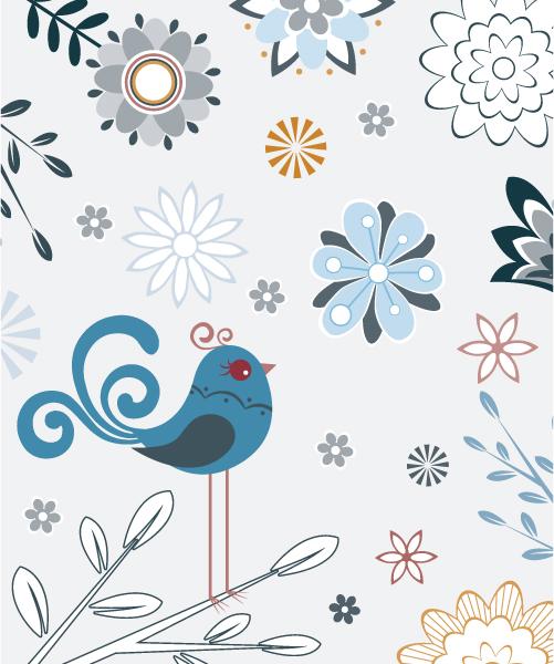 Creative, Flower, Floral-3, Bird Vector Vector Spring Floral Illustration With Bird 5