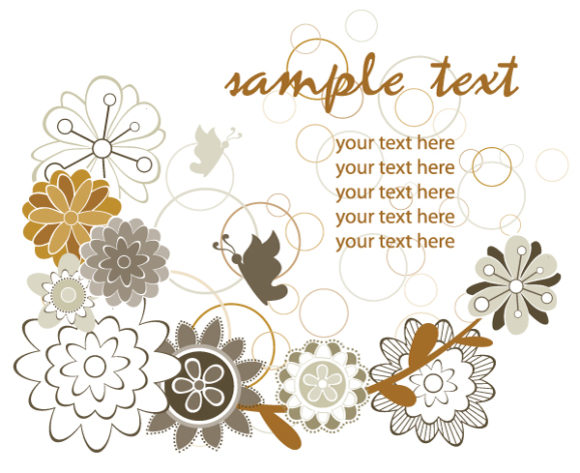 Background, Floral, Retro Vector Background Vector Retro Background With Floral 5