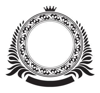 Vector Vintage Emblem With Floral Vector Illustrations floral