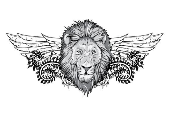 Exciting With Vector Background: Lion With Floral And Wings Vector Background Illustration 1