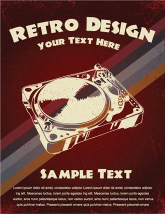 Retro Music Poster Vector Illustration Vector Illustrations old