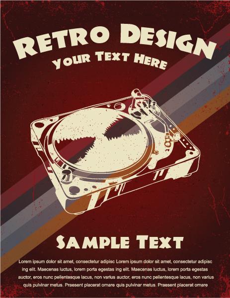 Retro Music Poster Vector Illustration 2010 07 8 106