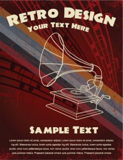 Retro Music Poster Vector Illustration Vector Illustrations wave