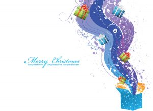 Christmas Greeting Card Vector Illustrations wave