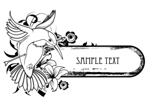Amazing Floral Vector Artwork: Floral Frame With Bird 5
