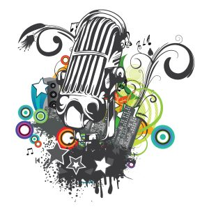 Microphone With Floral And Grunge Vector Illustrations star